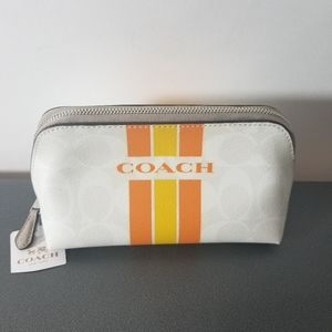 Coach Orange Varsity Stripe Cosmetic Case NWT